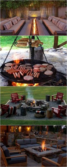 Fire Pit Ideas Backyard Landscaping - Try turning off your TV and stashing the remote for a better family time. Go to your backyard and sit around the fire pit to maintain a conversation, instead. Fire Pit Landscaping, Fire Pit Backyard, Backyard Patio, Landscaping Ideas, Desert Backyard, Backyard Playground, Sloped Backyard, Garden Landscaping, Diy Garden