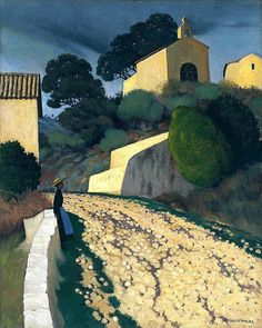 Félix Vallotton  |  Road at St Paul, 1922 | Swiss/French painter and printmaker associated with Les Nabis. He was an important figure in the development of the modern woodcut.