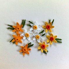 set of 3 Crochet Daffodil Decorative crochet Spring от ElenaGift