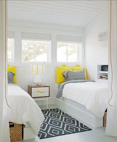 Villa: Awesome Twin Bed Coastal Cottage Bright Interior White Coastal Paint Colors Interior
