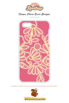 An Alternative Floral Design on Pink phone case available for all phone makes and models and can be personalised and purchased from www.mrnutcase.com