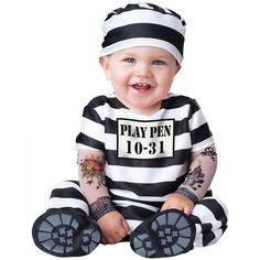 Baby Prisoner Costume Infant Toddler Halloween Fancy Dress  sc 1 st  Pinterest : baby police costume  - Germanpascual.Com