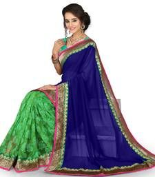 Buy Green and blue embroidared georgette saree with blouse . below-1500 online