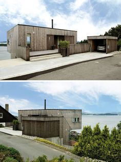 19 Examples Of Modern Scandinavian House Designs | Weathered wood siding covers the home, the fences, and the garage to create a cohesive looking exterior that's modern, warm, and inviting.