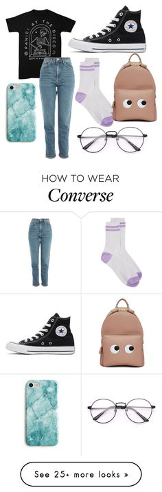 """Untitled #109"" by liljmac on Polyvore featuring Converse, Topshop, G.V.G.V., Recover and Anya Hindmarch"