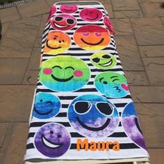 Large OVERSIZED Rainbow EMOJI Beach towel Terry Velour Personalized or Monogrammed by CACBaskets on Etsy Oversized Beach Towels, Emoji, Monogram, Kids Rugs, Rainbow, Unique Jewelry, Handmade Gifts, Etsy, Vintage