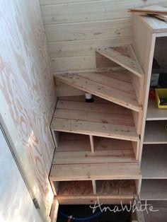 Ana white tiny house stairs - spiral storage style - diy projects tiny home Tiny House Stairs, Tiny House Loft, Tiny House Storage, Loft Stairs, Tiny House Living, Tiny House Plans, Tiny House Design, Tiny House On Wheels, Tiny Loft