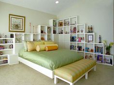 Bedroom Storage Ideas. Bookshelf idea is cool