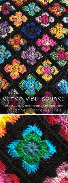 Retro Vibe Square Crochet Pattern Free #crochetpatternsfreesquare #crochetpattern