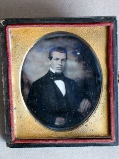 Handsome Young Man with Painted Clouds Backdrop Daguerreotype Photo