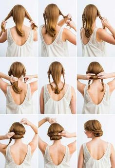 Hairstyles For Thick Hair - Chignon With Fishtail Braids