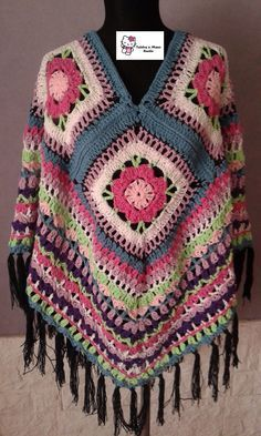 Poncho Artesanal Tejido Al Crochet Hilo De Algodon - $ 590,00 en MercadoLibre