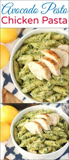 This avocado pesto chicken pasta is a quick weeknight meal with a lighter and creamy sauce. A great way to use leftover chicken! via @ohsweetbasil