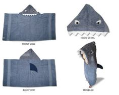 Shark hooded bath/pool towel by SewCrazyFun on Etsy