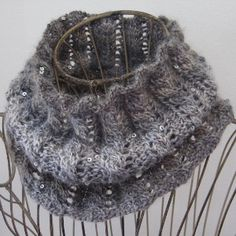 Rib & Cable Cowl Size: 7  Circular Needles Worsted Weight  Diamond Mine yarn has sparkles build right in