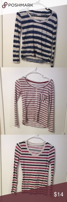 Set of 4 long sleeve (Bundle) Blue and white Aeropostale long sleeve size S --- Red and white Aeropostale long sleeve size XS---  Fusia and Navy Rue 21 long sleeve size M---Navy and Royal Blue Rue 21 size S *** all shirts are a general size Small*** Tops Tees - Long Sleeve