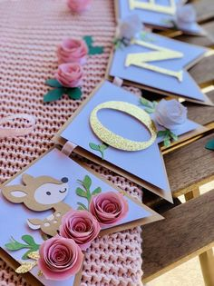 Woodland ONE Banner  ONE baby animals banner  ONE floral image 1