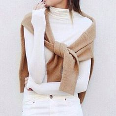 Neutral vibes from @thesimplystylish. #regram #thesimplystylish #vince #jbrand #jbrandjeans #ontheCUSP #neutrals #winterwhite