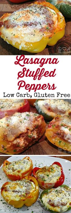 Lasagna Stuffed Peppers - Low Carb, Gluten Free   Peace Love and Low Carb via @PeaceLoveLoCarb