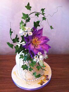 The Egyptian Water Lily cake Fancy Cakes, Cute Cakes, Wedding Cake Designs, Wedding Cakes, Lily Cake, Artist Cake, Sugar Paste Flowers, Fondant Flowers, Sugar Art