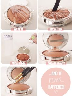 Fix up broken makeup. Wrap it, mash it up, add alcohol, smooth over and voila! good as new!