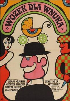 """Movie poster by Wiktor Gorka (1922-2004), 1965, """"Wózek dla wnuka"""" (Le tonnerre de Dieu) directed by Denys de La Patellière. (Polish)"""