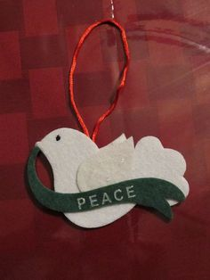 Peace White Felt Dove Holiday Christmas Ornament by emmadreamstar, $5.00