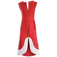 Preowned Rare Vintage Pierre Cardin 1960s Space Age Red And White... ($2,150) ❤ liked on Polyvore featuring dresses, white, evening dresses, white cutout dresses, cotton dresses, vintage cocktail dresses and red and white polka dot dress