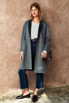 grey coat, striped tee, burgundy bag, frayed cropped denim and loafers #style #fashion #fall