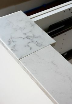 Marble Quartz Countertop Options - TCE Stone 4005 - Frosty Carrina by Caesarstone