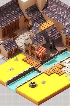 Isometric Town by Arnaud Romani, via Behance