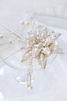 Lotus Flower brooch Bridal jewelry Lotus necklace Pearl Water Lily Anniversary gift for beloved wife Wedding gift for bride Spring wedding