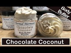 Chocolate Coconut Luxury Body Butter 🍫🥥 - DIY Lotion Making Homemade Body Butter, Lip Scrub Homemade, Whipped Body Butter, Skin Gel, Soap Making Recipes, Diy Lotion, Cocoa Butter, Baking Ingredients, Coconut