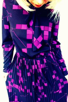 Vintage clothing,  70s vintage purple dress!