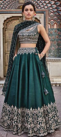 1549623: Mehendi Sangeet Green color Lehenga in Art Silk fabric with Embroidered, Thread work