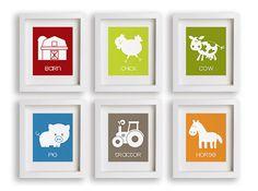 At The Farm  Set of Six Nursery Art Prints  Farm by NikoAndLily, $59.95