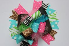 Animal Print Over the Top Hair Bow Deluxe by sweetiepiehairbows22, $10.99