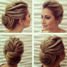 Looks like it could be done with short hair too. Fancy Hairstyles, Bride Hairstyles, Hairstyle Wedding, Wedding Hair And Makeup, Bridal Hair, Wedding Hair Inspiration, How To Make Hair, Love Hair, Hair Looks