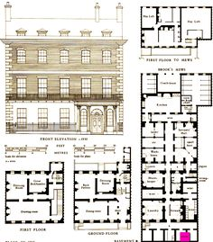 1763 Plans Of A House In Grosvenor Street, London, UK. suzilove.com