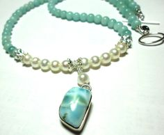 Lovely Larimar and Pearls Necklace with by DesignsbyDianeR on Etsy, $118.00