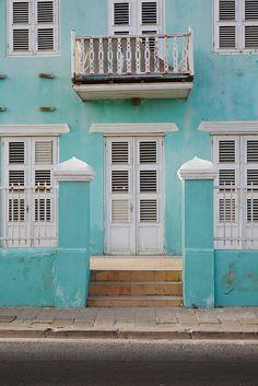 Caribbean blue houses in Curacao