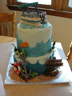 pontoon boat cake lake boating fishing anchor 2 tier all edible fondant gumpaste decorations