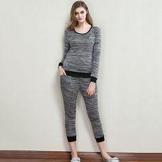 Casual Elastic Breathable Long Sleeve Sleepwear Sets Ninth Pants Pajamas For Women