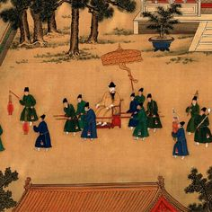 """The Fifth Ming Emperor Xuanzong (ruling from 1425 to 1435) on palace playground (6)  Emperor: """"Let's call it a day. Tchao!"""" Colour meticulous-style ink painting by Ming court artist"""
