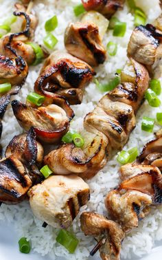 Chicken and Bacon Kabobs.  86 the shrooms. Serve with salad. YUM