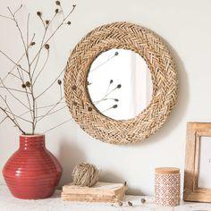 Straw Mirror 40 x 40 Diy Bedroom Decor, Wall Decor, Entry Way Design, Upcycled Home Decor, Diy Mirror, Bohemian Decor, My Room, House Styles, Inspiration