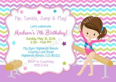 PRINTABLE Gymnastics Birthday Party Invitation Tumbling Party