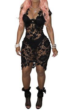 2017 Black summer wenmon sexy deep V sleeveless lace tight dress Night dress