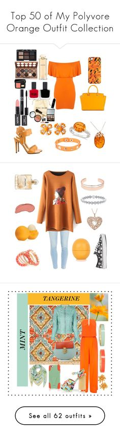 """""""Top 50 of My Polyvore Orange Outfit Collection"""" by mackennan ❤ liked on Polyvore featuring Miss Selfridge, Fergie, MICHAEL Michael Kors, Casetify, Dettagli, Miriam Haskell, Allurez, Be-Jewelled, Bobbi Brown Cosmetics and RGB"""