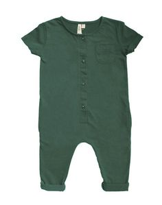 The Gray Label Short sleeved unisex playsuit is made from the softest organic cotton. Buttons up the front with a pocket on the right chest.